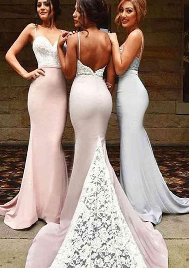 Trumpet/Mermaid Sweetheart Sleeveless Court Train Elastic Satin Bridesmaid Dresses With Backless
