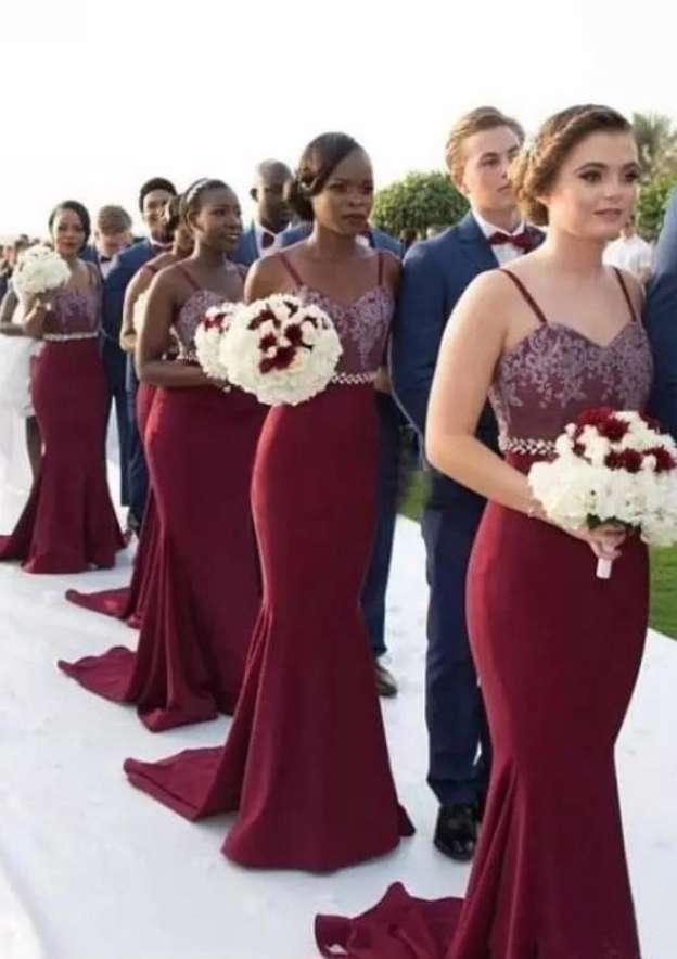 Trumpet/Mermaid Sweetheart Sleeveless Sweep Train Elastic Satin Bridesmaid Dresses With Appliqued Waistband