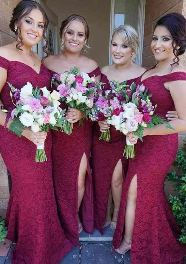 Trumpet/Mermaid Off-The-Shoulder Sleeveless Long/Floor-Length Lace Bridesmaid Dresses With Split