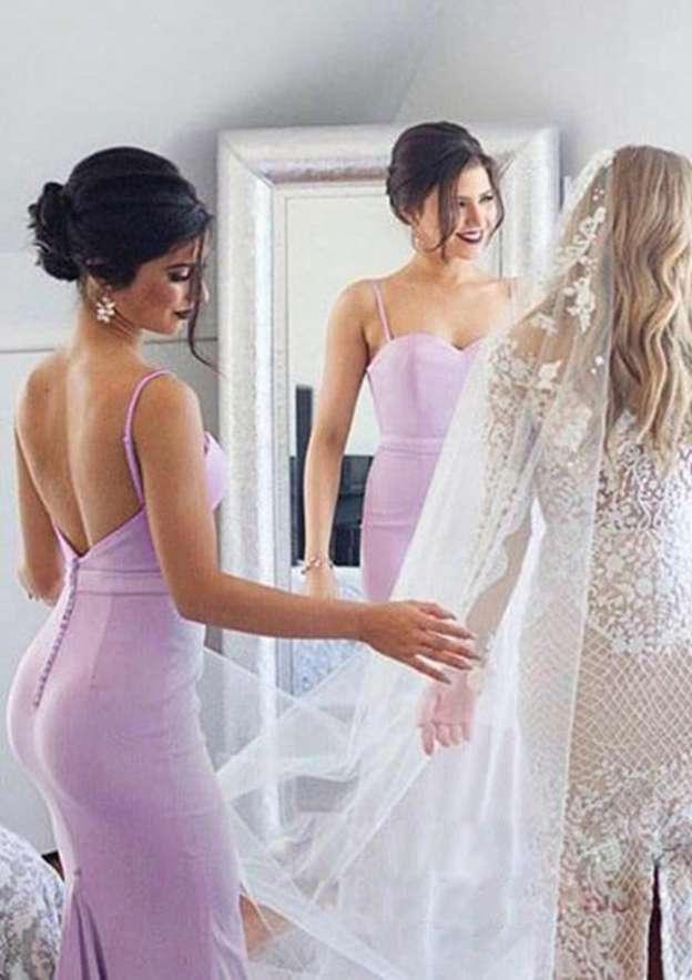 Trumpet/Mermaid Sweetheart Sleeveless Sweep Train Elastic Satin Bridesmaid Dresses