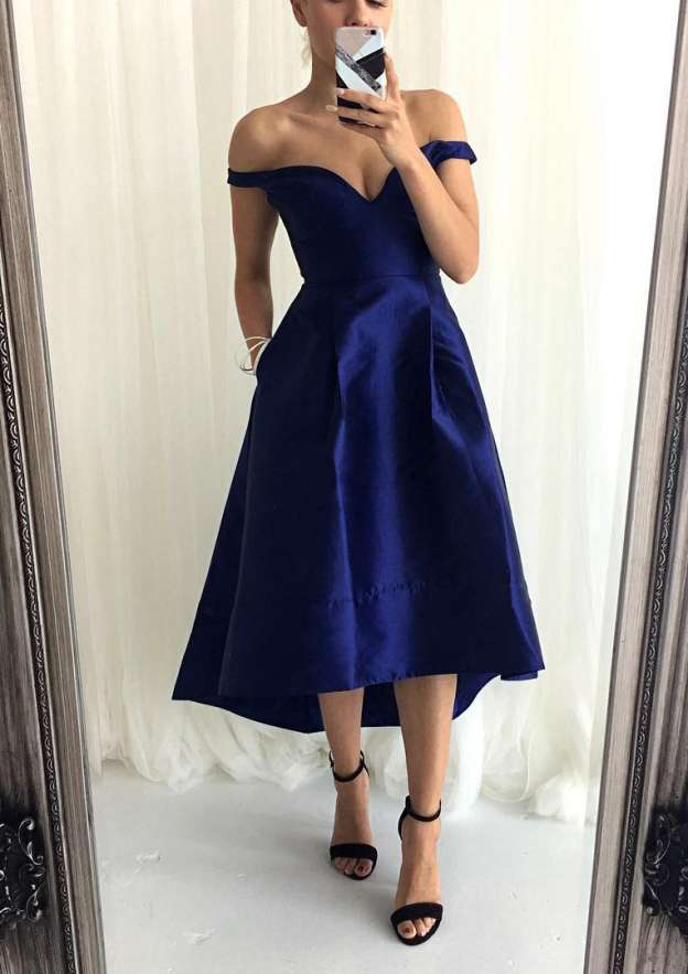 A-Line/Princess Off-The-Shoulder Sleeveless Asymmetrical Satin Bridesmaid Dress With Pleated