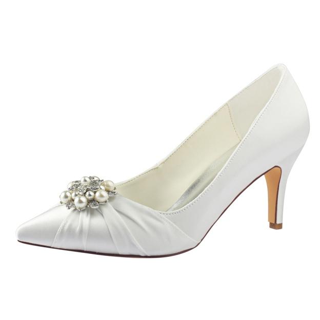 Close Toe Stiletto Heel Satin Wedding Shoes With Rhinestone Ruffles