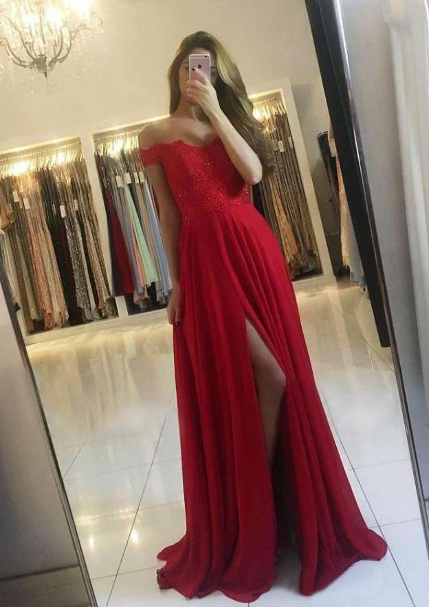 A-Line/Princess Off-The-Shoulder Sleeveless Long/Floor-Length Chiffon Prom Dress With Beading Split