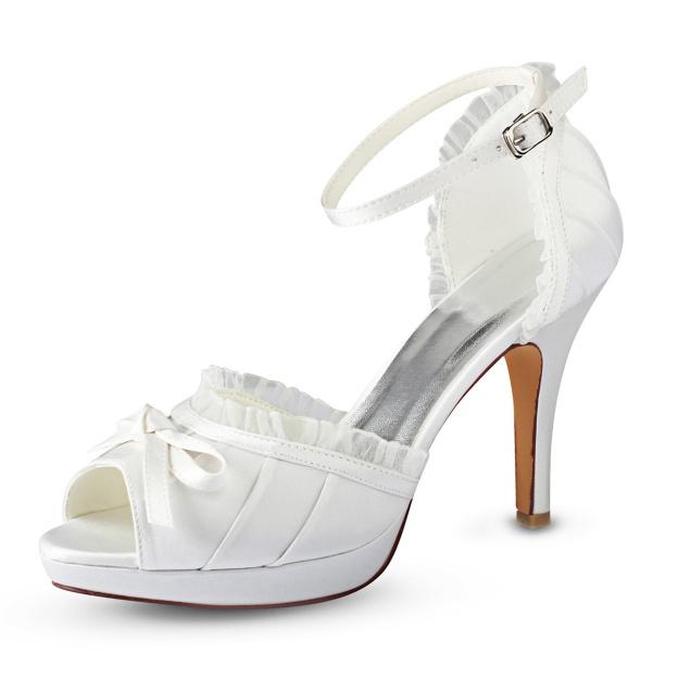 Peep Toe Platform Sandals Stiletto Heel Satin Wedding Shoes With Bowknot Lace