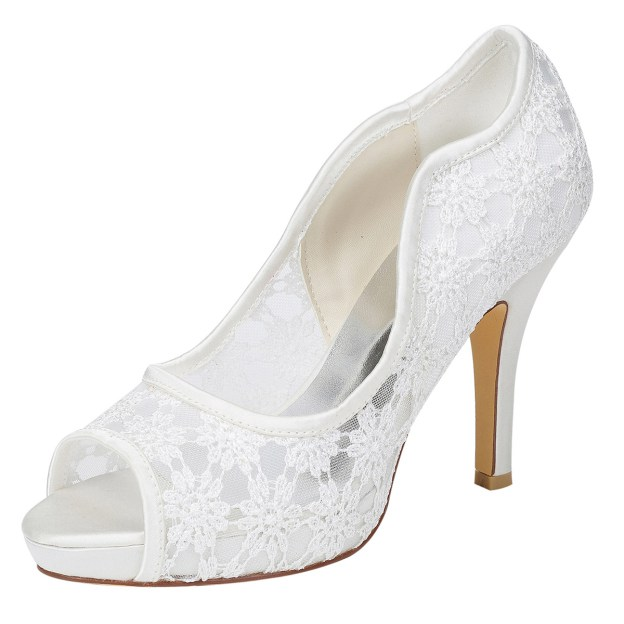Peep Toe Stiletto Heel Charmeuse Wedding Shoes With Lace