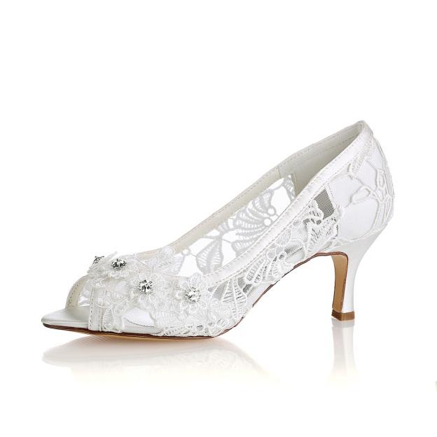 Peep Toe Sandals Chunky Heel Lace Wedding Shoes With Flowers Rhinestone
