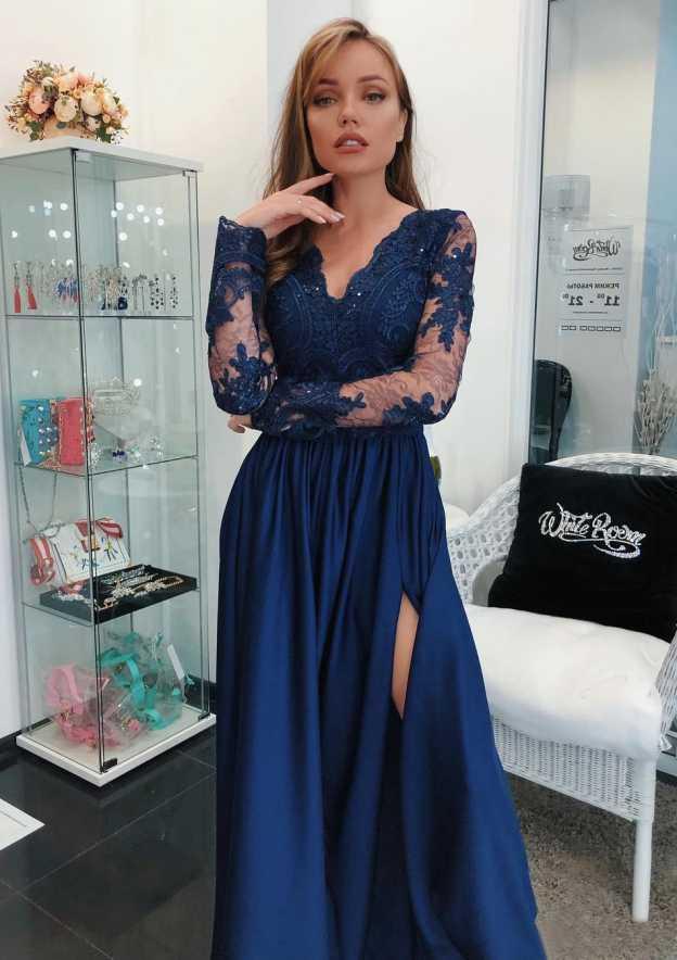 A-Line/Princess V Neck Full/Long Sleeve Long/Floor-Length Charmeuse Prom Dress With Split Beading Appliqued
