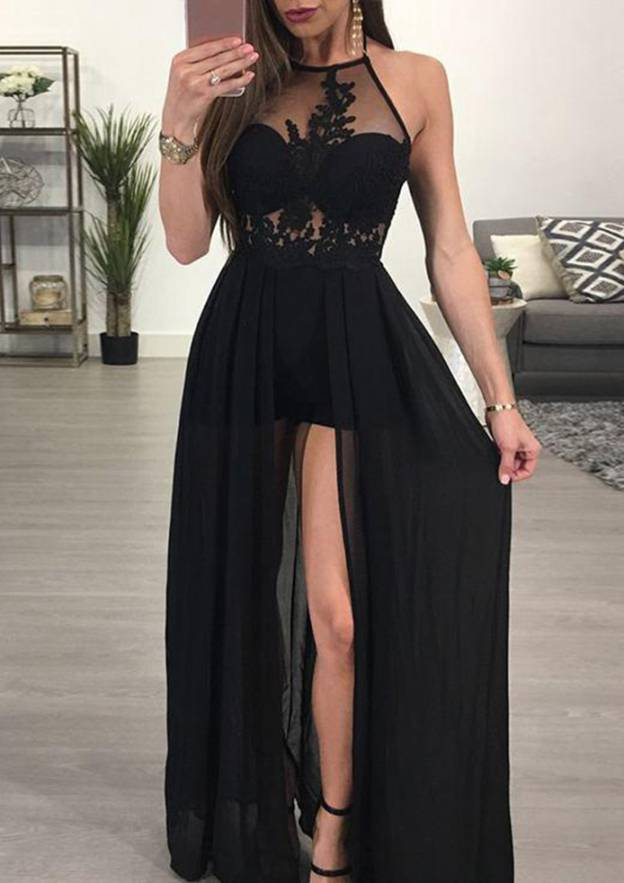 A-Line/Princess Halter Sleeveless Long/Floor-Length Chiffon Prom Dress With Appliqued Split