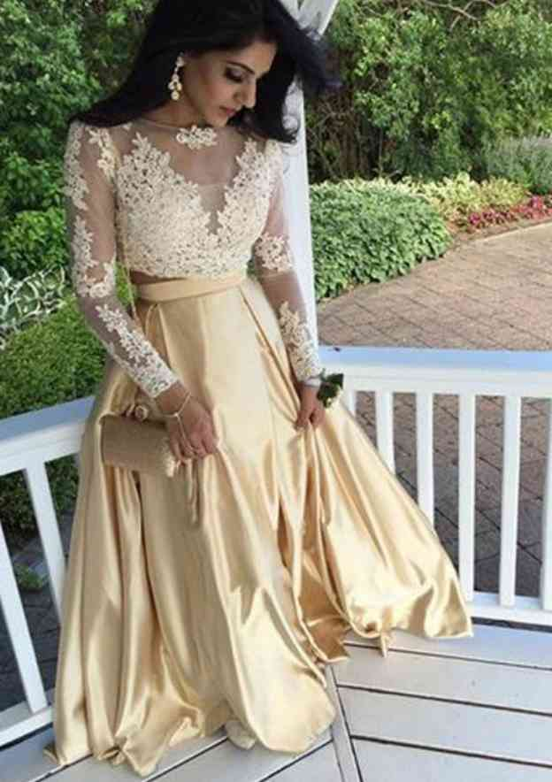A-Line/Princess Bateau Full/Long Sleeve Long/Floor-Length Satin Prom Dress With Appliqued