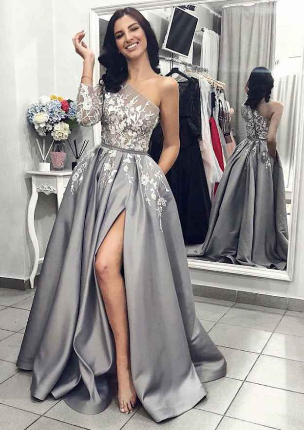 A-Line/Princess V Neck Full/Long Sleeve Sweep Train Satin Prom Dress With Appliqued Waistband Split