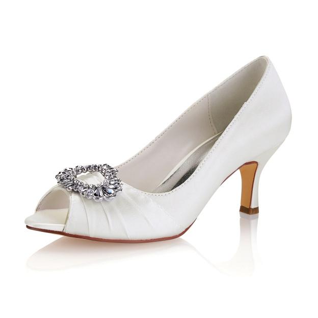Peep Toe Stiletto Heel Satin Wedding Shoes With Rhinestone