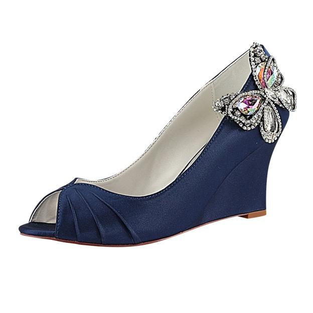 Peep Toe Wedge Heel Satin Wedding Shoes With Rhinestone