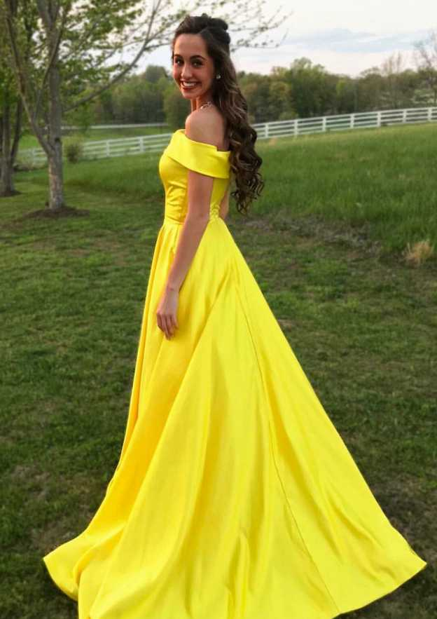 A-Line/Princess Off-The-Shoulder Sleeveless Sweep Train Satin Prom Dress With Low Back