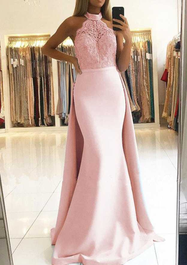 Trumpet/Mermaid Halter Sleeveless Sweep Train Elastic Satin Prom Dress With Lace Waistband