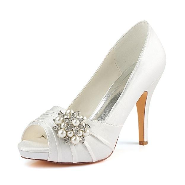 Peep Toe Platform Stiletto Heel Satin Wedding Shoes With Rhinestone