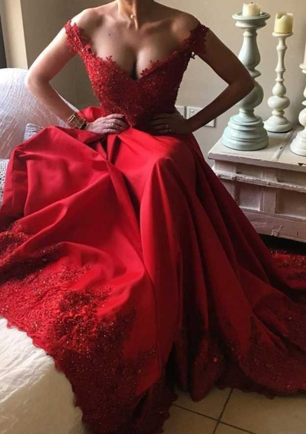 A-Line/Princess Off-The-Shoulder Sleeveless Chapel Train Charmeuse Evening Dress With Hem Appliqued Beading