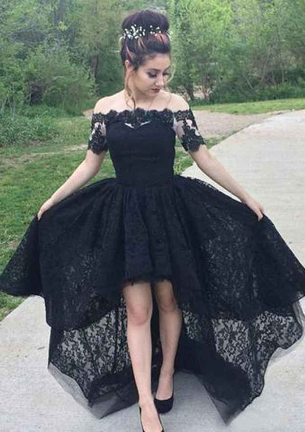 Ball Gown Off-The-Shoulder Short Sleeve Asymmetrical Lace Prom Dress With Pleated