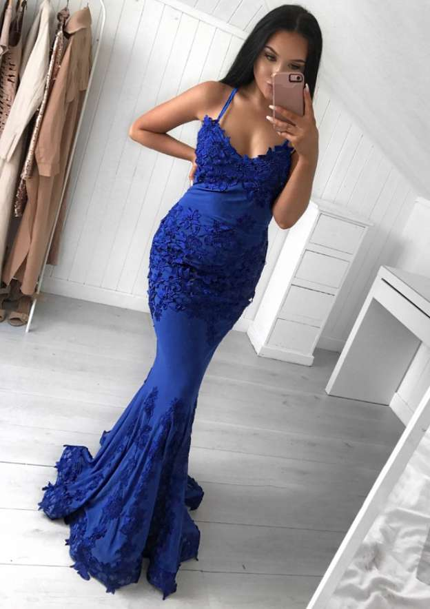 Trumpet/Mermaid V Neck Sleeveless Sweep Train Jersey Evening Dress With Appliqued