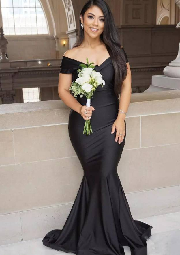 Trumpet/Mermaid Off-The-Shoulder Sleeveless Sweep Train Elastic Satin Prom Dress With Pleated