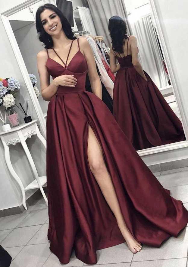 A-Line/Princess V Neck Sleeveless Long/Floor-Length Elastic Satin Evening Dress With Split Pleated