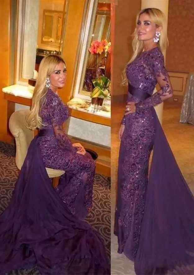 Trumpet/Mermaid Scoop Neck Full/Long Sleeve Court Train Lace Prom Dress With Beading Waistband