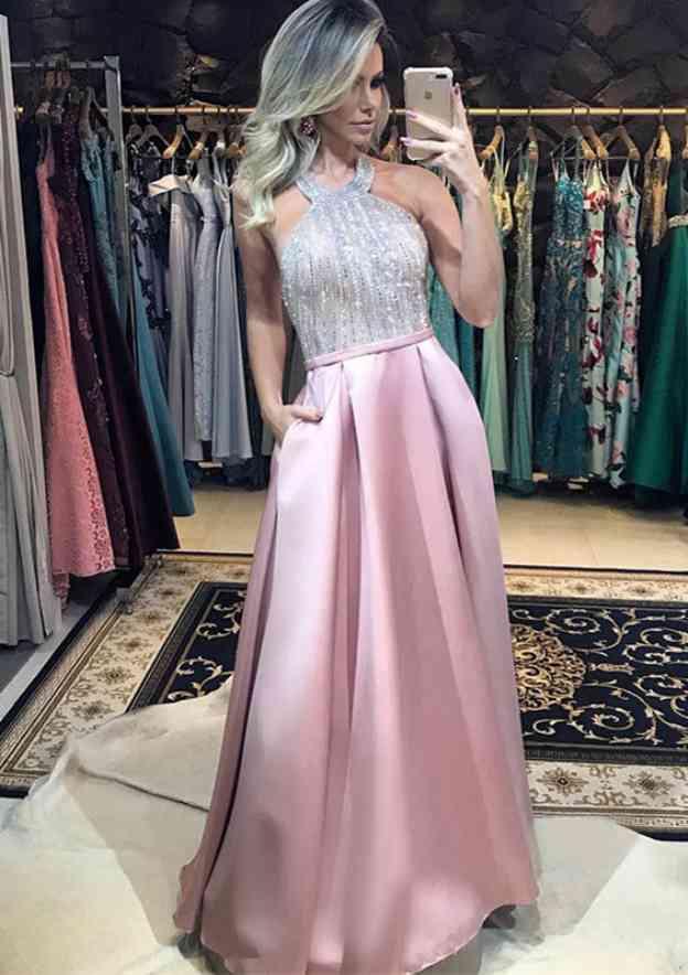 A-Line/Princess Halter Sleeveless Long/Floor-Length Charmeuse Evening Dress With Waistband Pleated Sequins