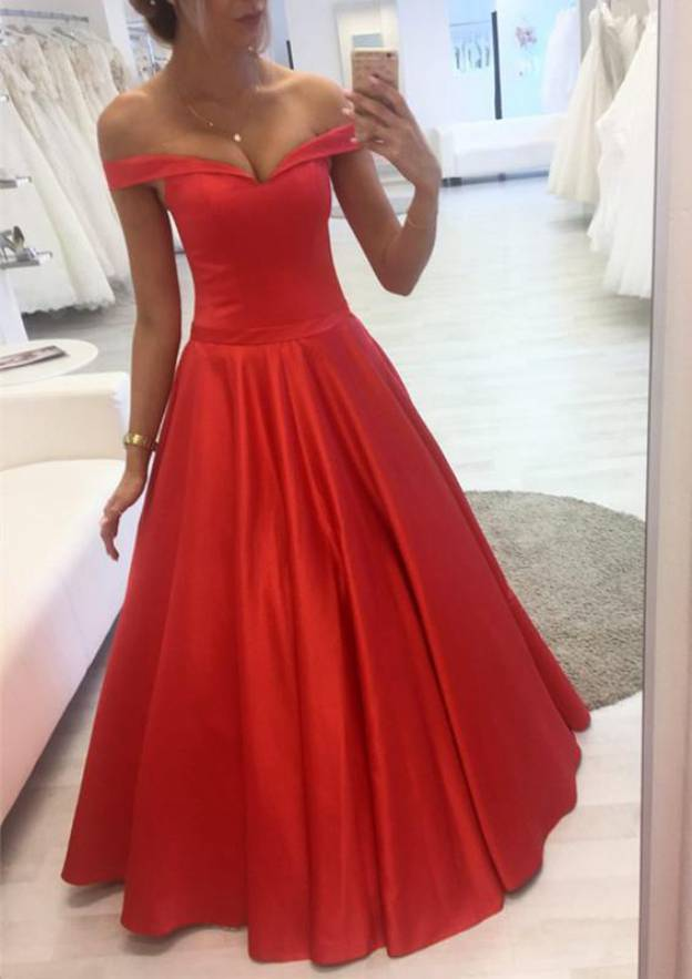 Ball Gown Off-The-Shoulder Sleeveless Long/Floor-Length Satin Prom Dress With Pleated