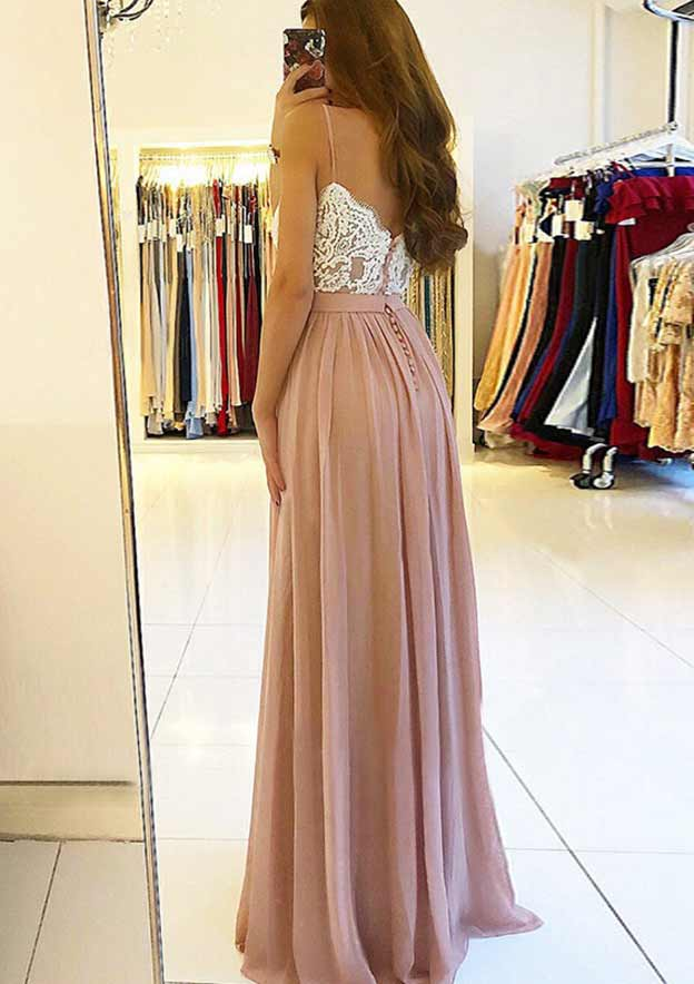 A-Line/Princess Sweetheart Sleeveless Long/Floor-Length Chiffon Prom Dress With Split Appliqued