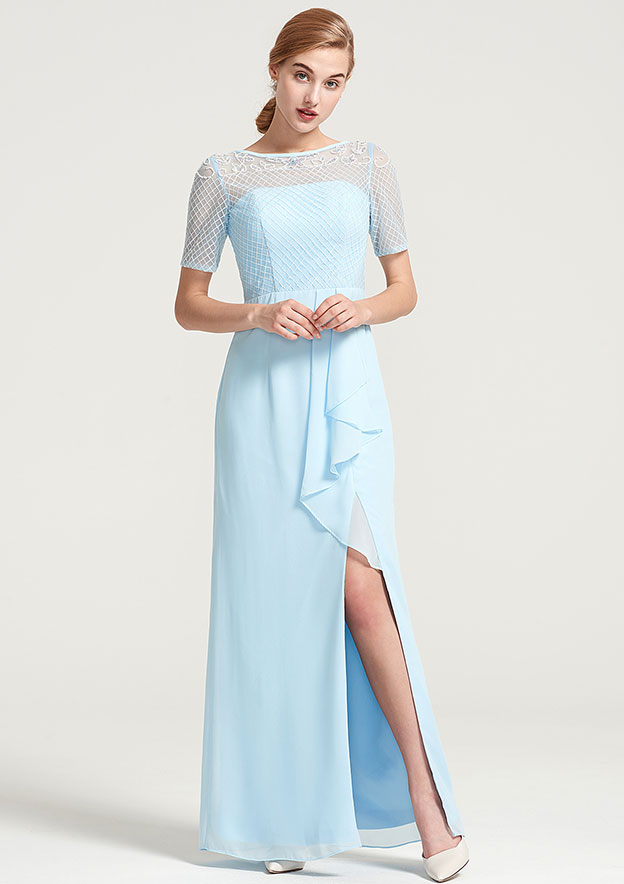 Sheath/Column Bateau Short Sleeve Long/Floor-Length Chiffon Dress With Split Appliqued Ruffles