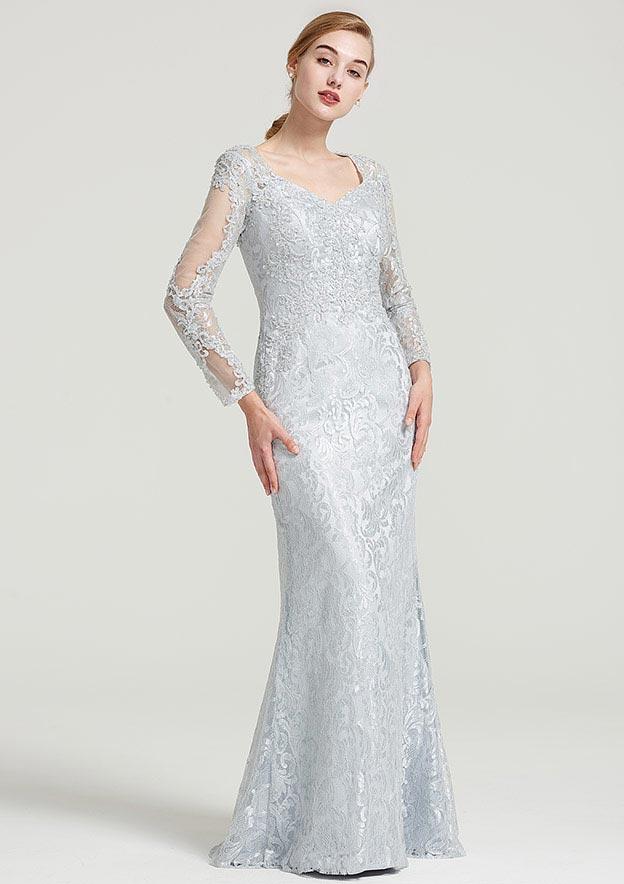 Sheath/Column Sweetheart Full/Long Sleeve Long/Floor-Length Lace Dress With Appliqued