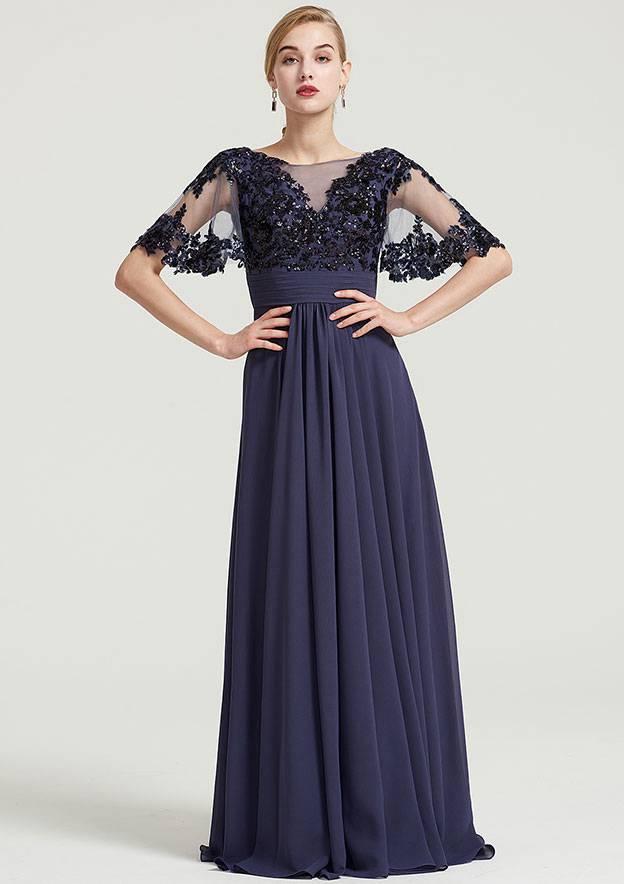 A-Line/Princess Bateau Short Sleeve Long/Floor-Length Chiffon Dress With Pleated Appliqued