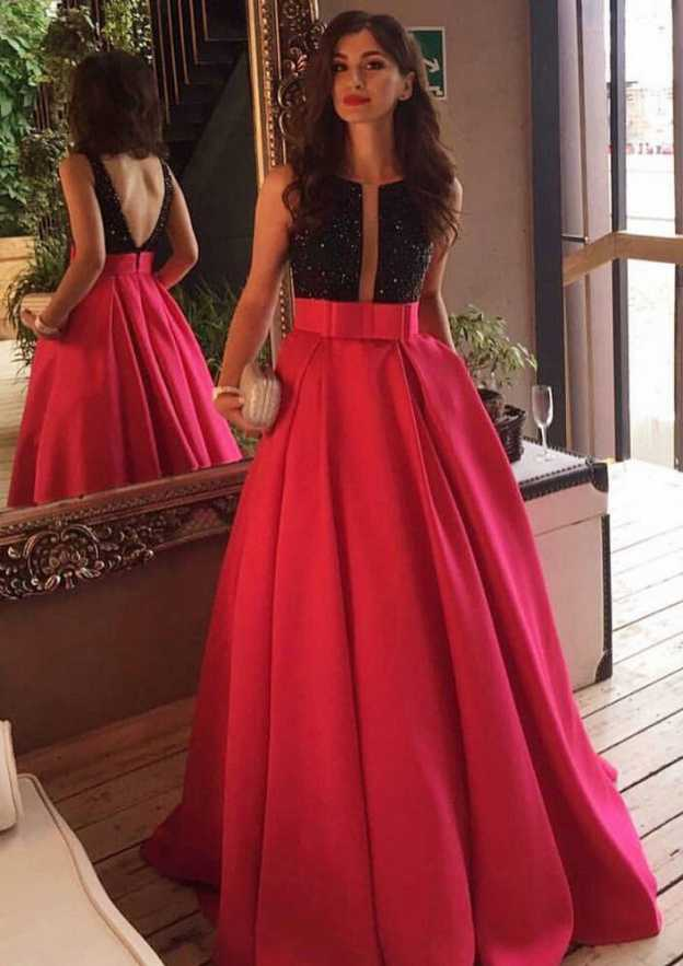 A-Line/Princess Bateau Sleeveless Sweep Train Satin Prom Dress With Pockets Beading Bowknot