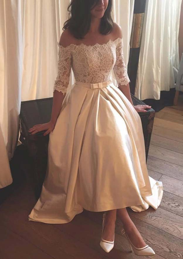 A-Line/Princess Off-The-Shoulder Half Sleeve Asymmetrical Satin Wedding Dress With Lace