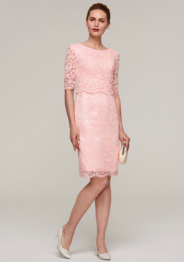 Sheath/Column Bateau Half Sleeve Knee-Length Lace Mother Of The Bride Dress