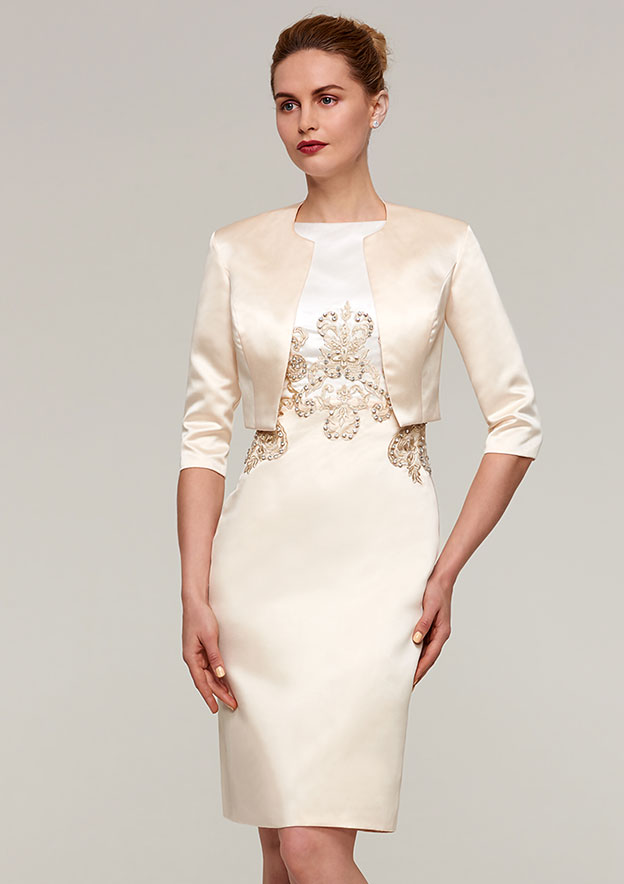 Sheath/Column Bateau Sleeveless Knee-Length Satin Mother Of The Bride Dress With Jacket Appliqued Beading