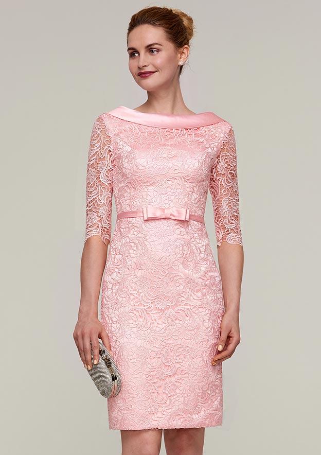 Sheath/Column Bateau Half Sleeve Knee-Length Lace Mother Of The Bride Dress With Waistband Bowknot