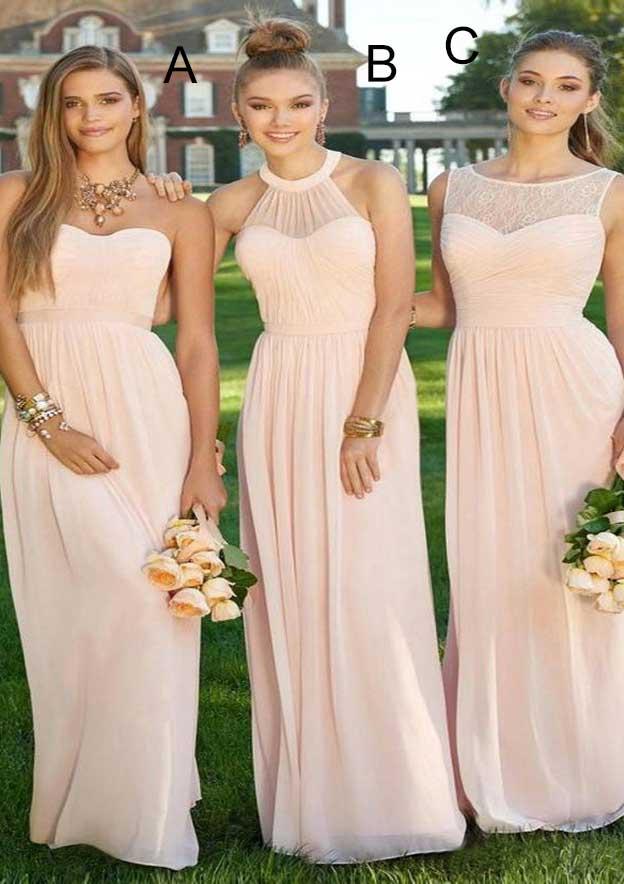 A-Line/Princess Sweetheart Sleeveless Long/Floor-Length Chiffon Bridesmaid Dresses With Pleated