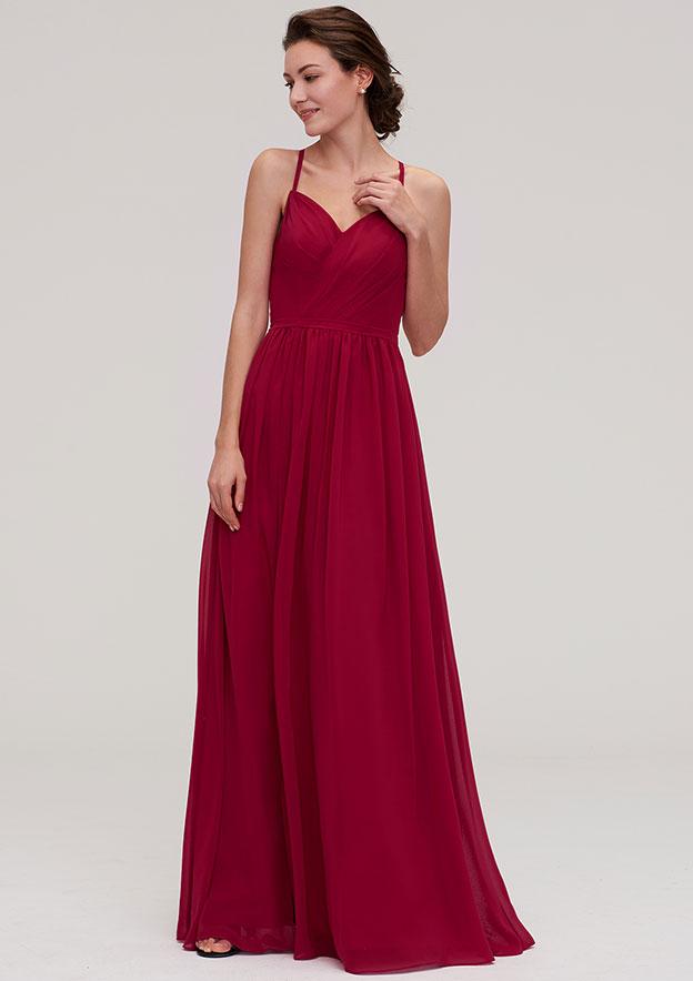A-Line/Princess Sweetheart Sleeveless Long/Floor-Length Chiffon Bridesmaid Dress With Split Pleated