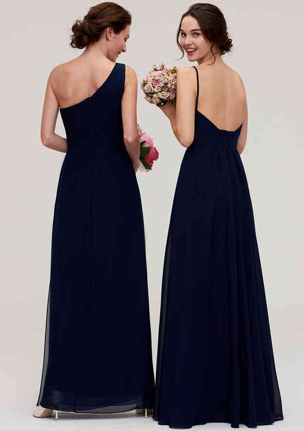 A-Line/Princess One-Shoulder Sleeveless Long/Floor-Length Chiffon Bridesmaid Dress With Pleated