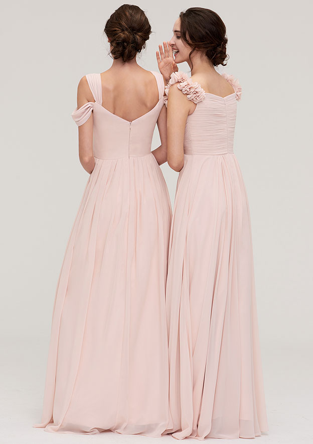 A-Line/Princess Sweetheart Sleeveless Long/Floor-Length Chiffon Bridesmaid Dresses With Pleated Shoulder Flower