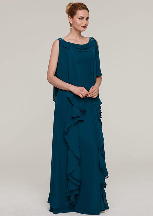 Sheath/Column Cowl Neck Sleeveless Long/Floor-Length Chiffon Mother Of The Bride Dress With Beading Ruffles