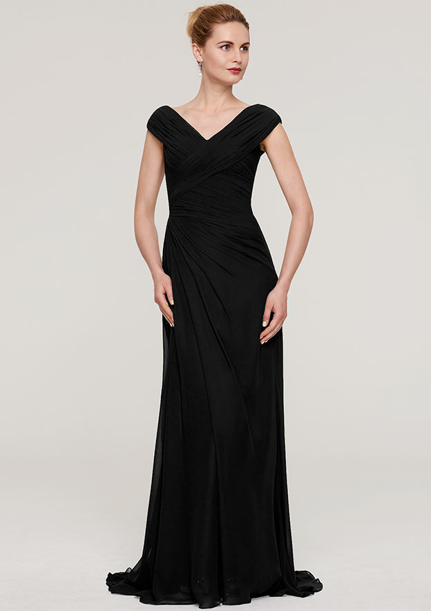 Sheath/Column V Neck Sleeveless Sweep Train Chiffon Mother Of The Bride Dress With Pleated