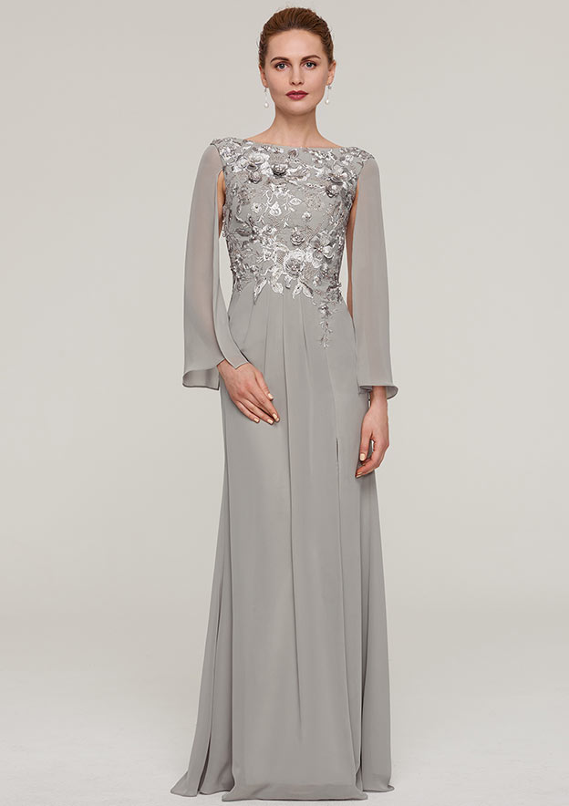 A-Line/Princess Bateau Full/Long Sleeve Long/Floor-Length Chiffon Mother Of The Bride Dress With Split Appliqued