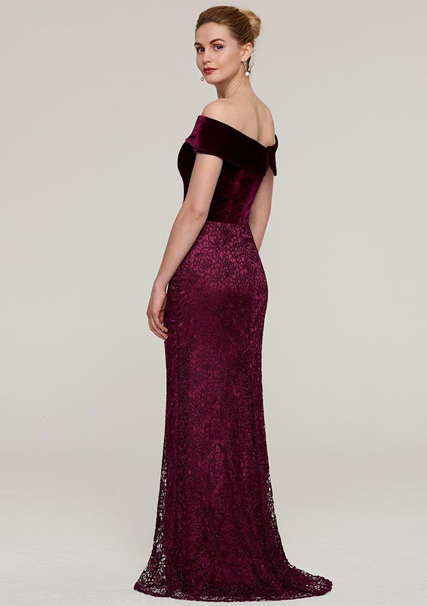 Sheath/Column Off-The-Shoulder Sleeveless Sweep Train Lace Evening Dress