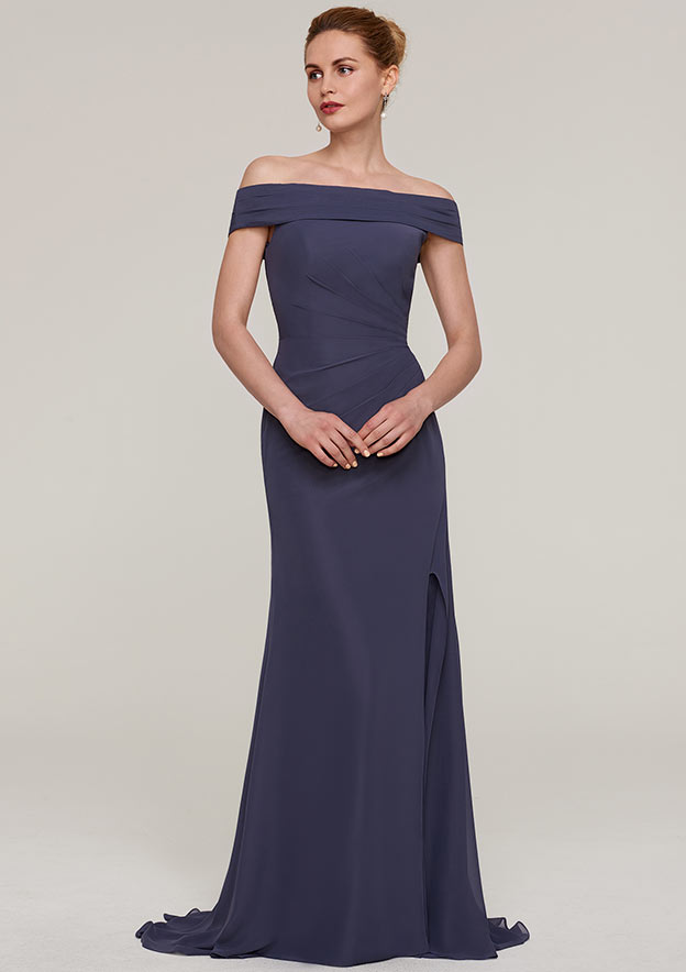 Sheath/Column Off-The-Shoulder Sleeveless Sweep Train Chiffon Evening Dress With Pleated Split