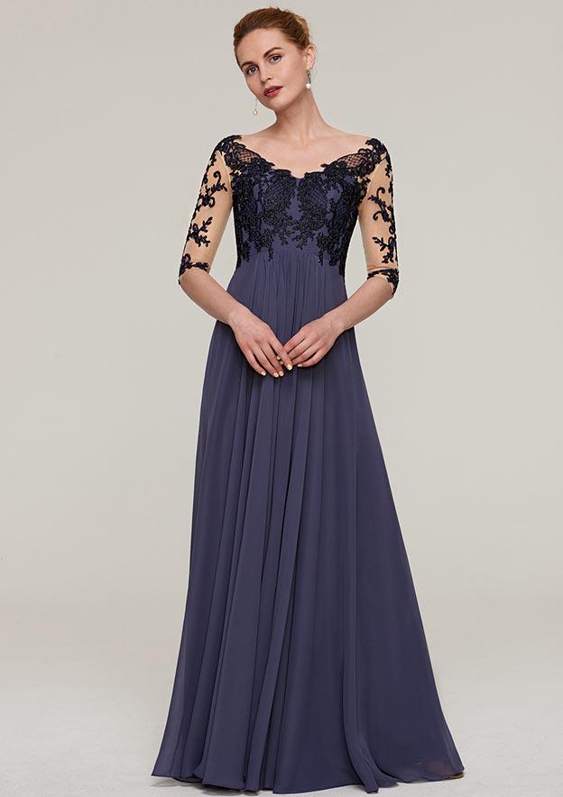 A-Line/Princess V Neck Half Sleeve Long/Floor-Length Chiffon Evening Dress With Appliqued