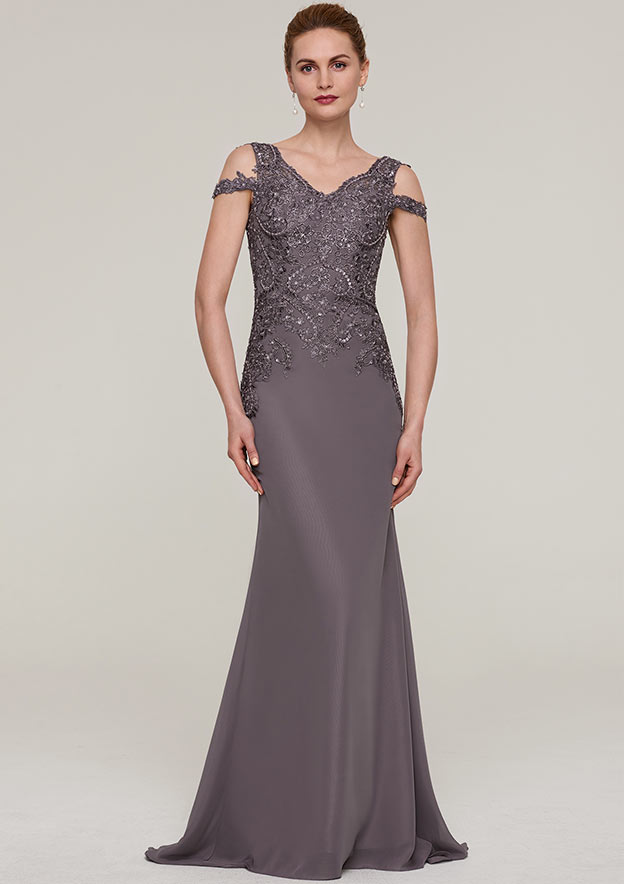 Sheath/Column V Neck Sleeveless Sweep Train Chiffon Evening Dress With Sequins Appliqued