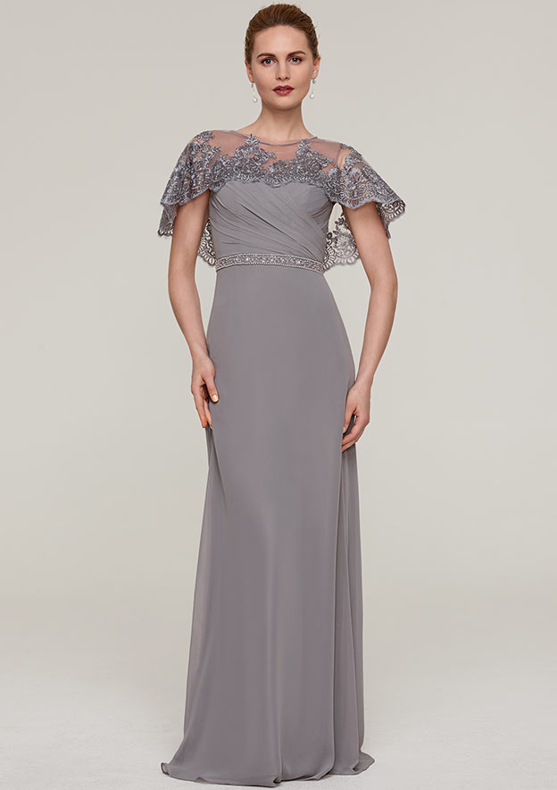 Sheath/Column Bateau Short Sleeve Long/Floor-Length Chiffon Evening Dress With Beading Appliqued