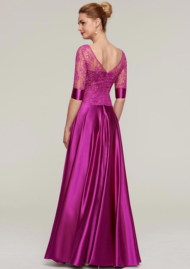 Sheath/Column Bateau Half Sleeve Long/Floor-Length Charmeuse Evening Dress With Lace