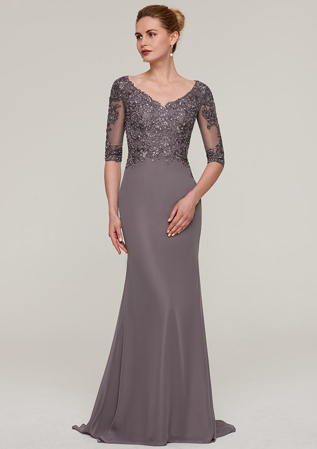 Sheath/Column V Neck Half Sleeve Sweep Train Chiffon Evening Dress With Appliqued Beading
